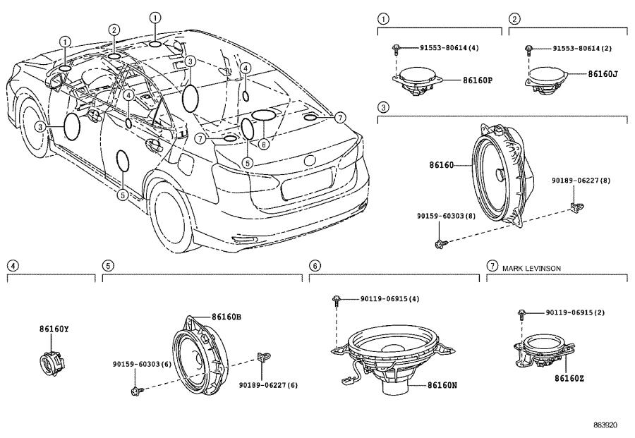 Lexus HS 250h Speaker assembly, stereo component, rear