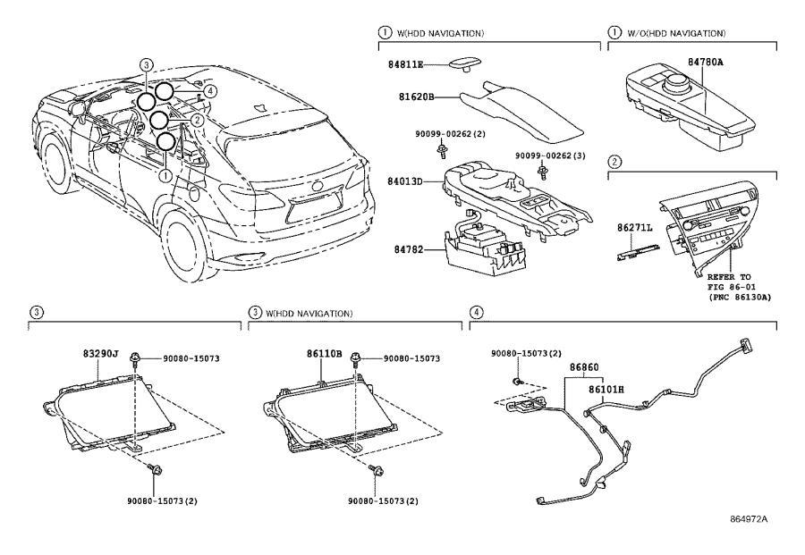 Lexus RX 350 Antenna assembly, navigation. System, emv