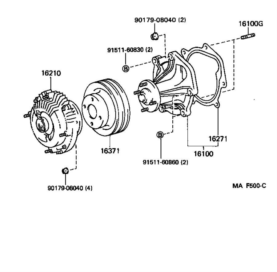 Lexus LX 450 Engine Water Pump. ARL, Cooling, Make