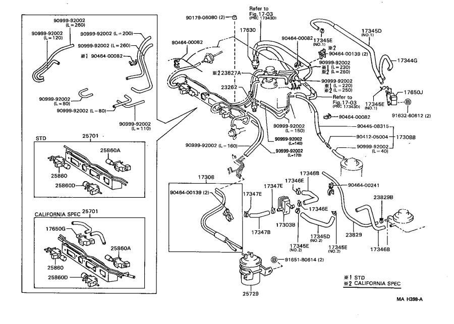 Lexus ES 300 Hose, air, no. 4. Engine, atm, mtm
