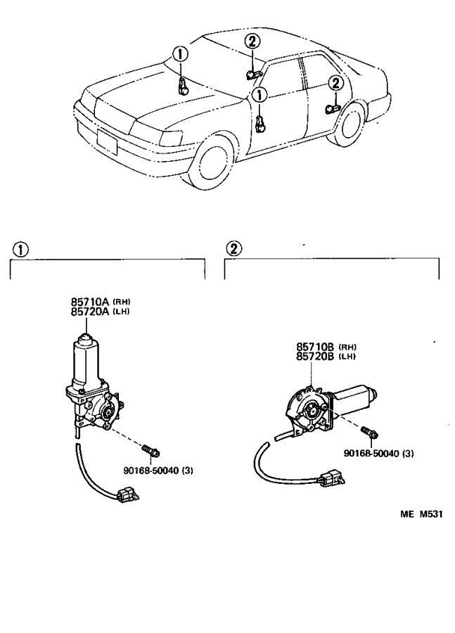 Lexus LS 400 Motor assembly, power window regulator, front