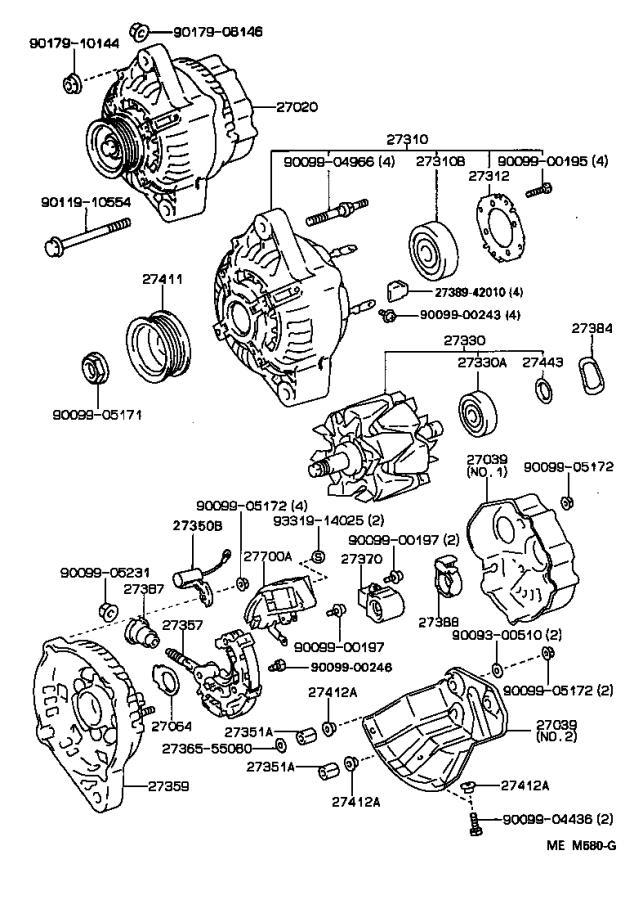 Lexus LS 400 Bearing(for alternator rotor). Engine