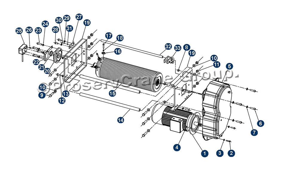 hoist drum drum frame gearcase motor rope guide and screw