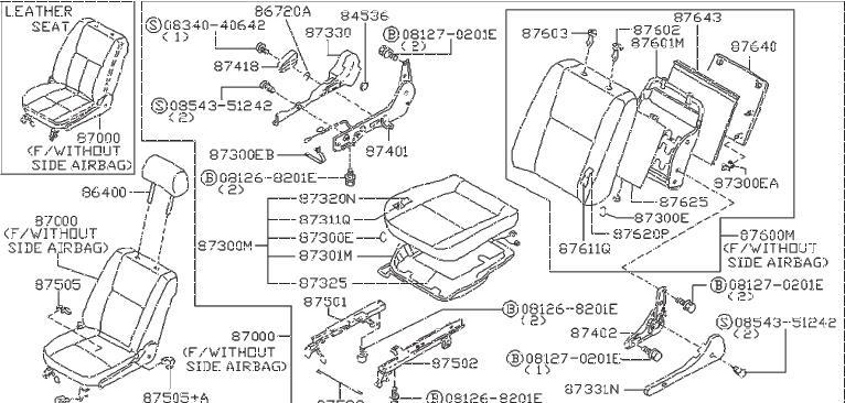 Nissan Pathfinder Power Seat Switch Knob Screw. MANUAL