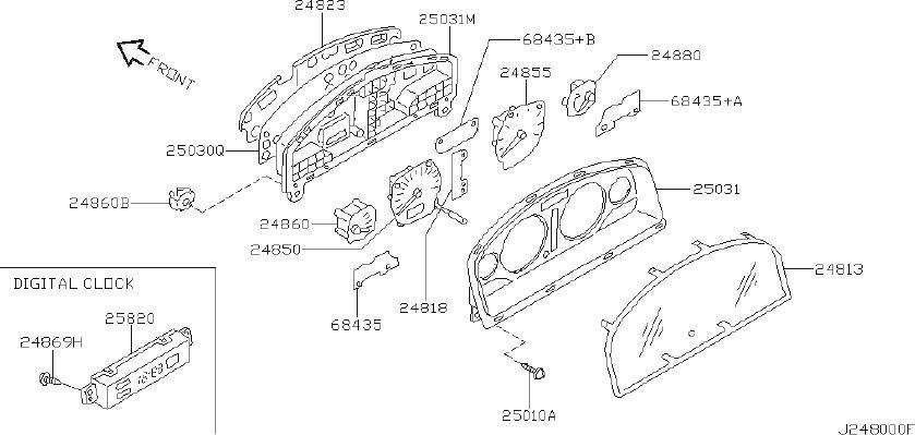 Nissan Maxima Engine Coolant Temperature Gauge. VIEW, REAR