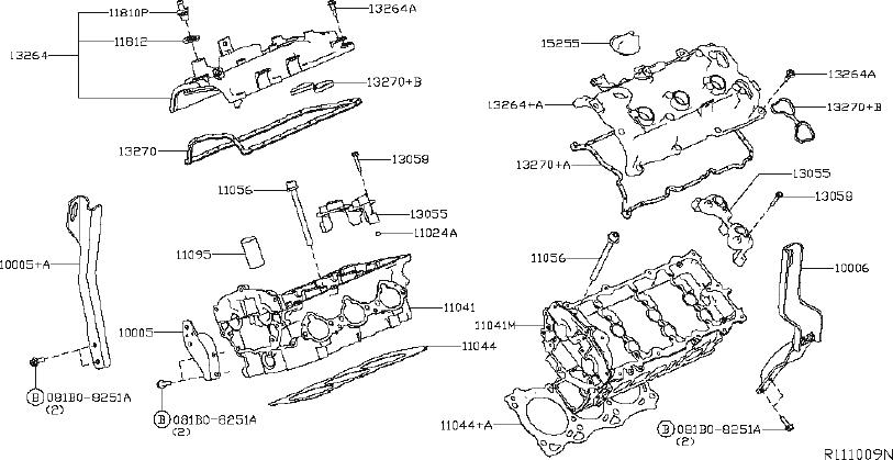 Nissan Maxima Engine Valve Cover Gasket. HEAD, CYLINDER
