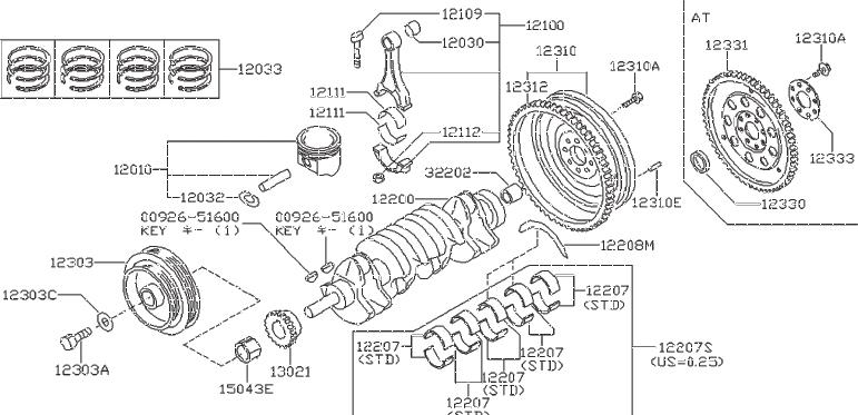 Nissan Sentra Gear Idler. Spacer Oil Pump Drive