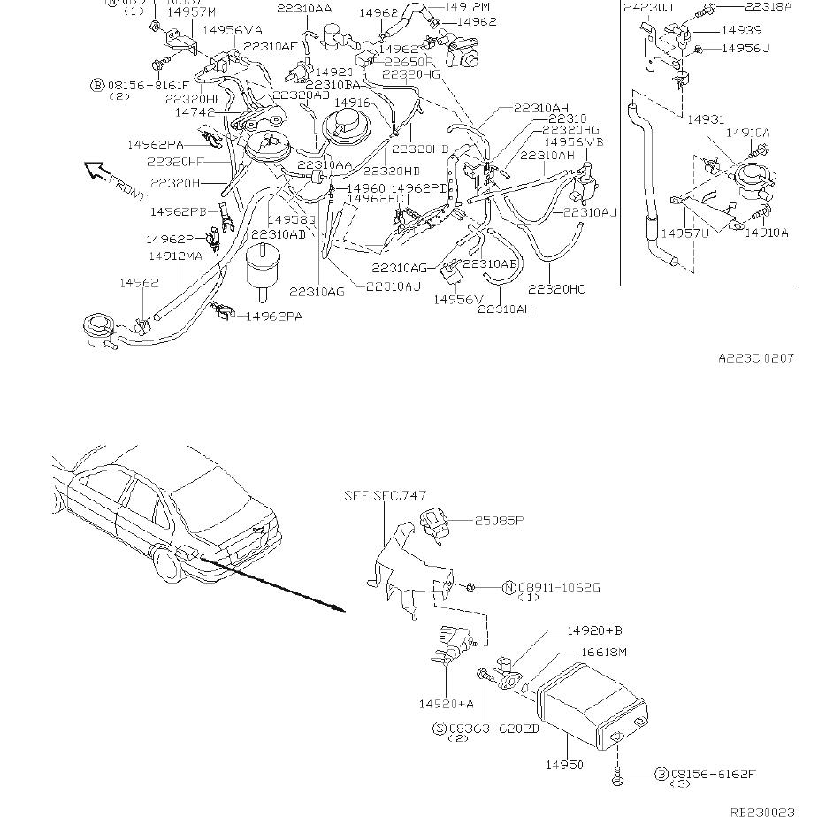 Nissan Sentra Hose Vacuum Control, B. PIPING, ENGINE