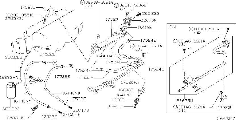 Nissan Sentra Fuel Injector O-Ring. STRAINER, HOSE, Engine
