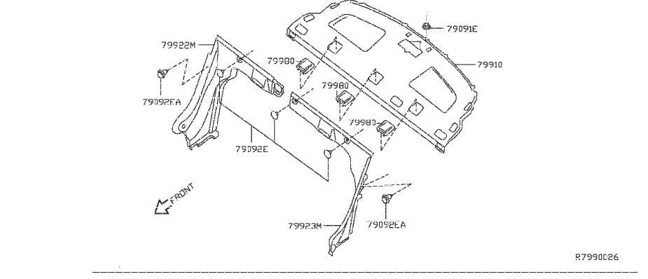 Nissan Sentra Package Tray Trim (Rear). NAVIGATION, BOSE