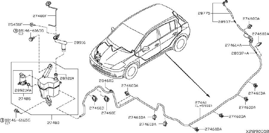 Nissan Versa Washer Fluid Reservoir. WINDSHIELD, System
