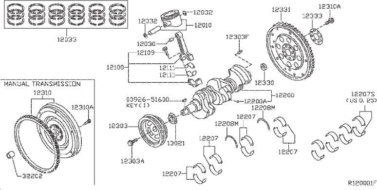 Nissan Frontier Engine Crankshaft Thrust Washer. PISTON