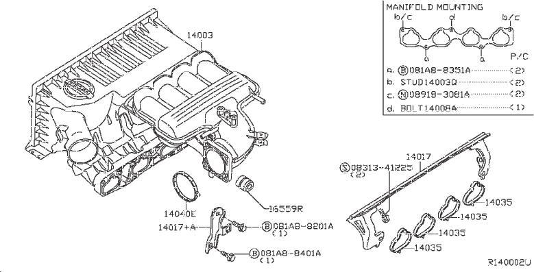 Nissan Frontier Engine Intake Manifold Bolt. EXHAUST