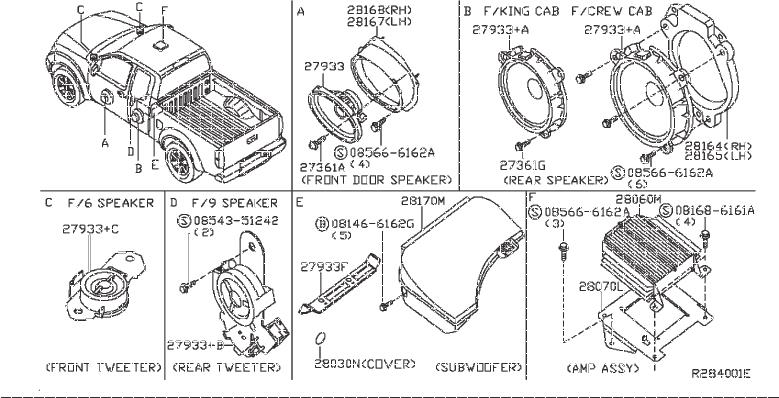 Nissan Frontier Radio Amplifier. PRE, ROCKFORD, FOSGATE