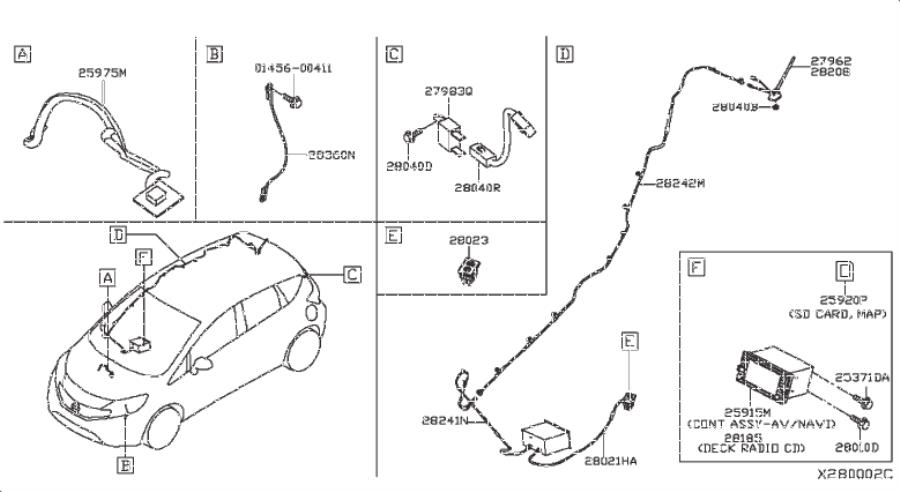 Nissan Versa Note Console Wiring Harness. AUDIO, ANTENNA