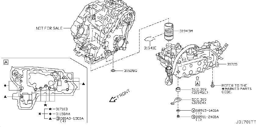 Nissan Sentra Automatic Transmission Filter O-Ring. CVT