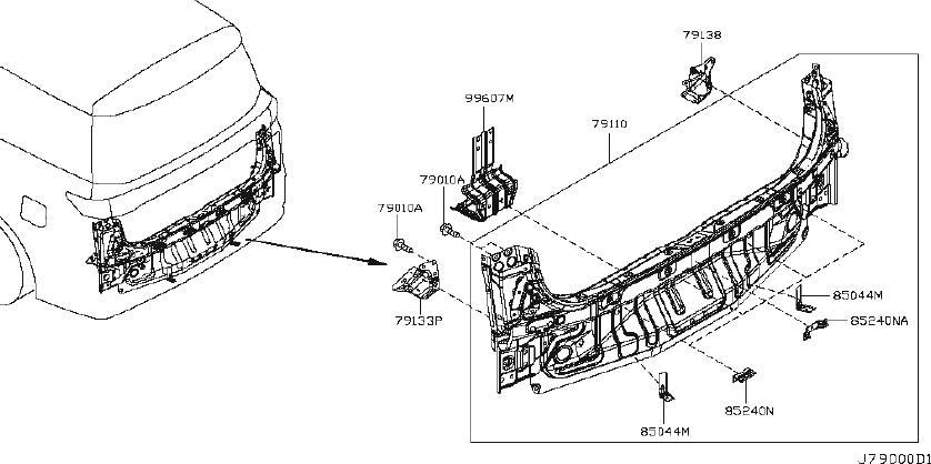 Nissan Quest Rear Body Panel Bracket (Rear, Upper). Trim