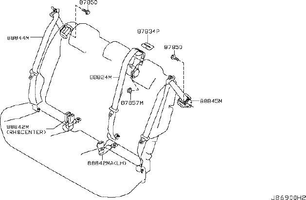 Nissan Juke Seat Belt Receptacle (Rear). GKRX, GRX, MODEL
