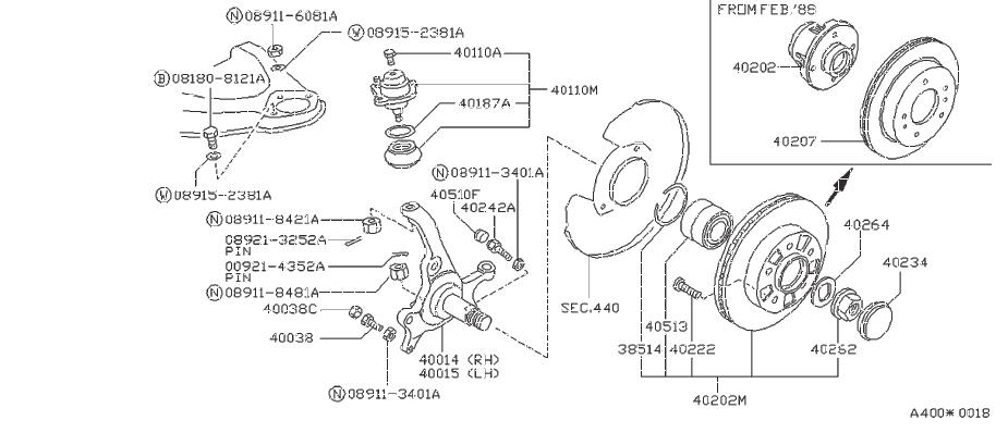 Datsun 620 Ball Joint Lowr. Bushing Link. Fitting. Nut