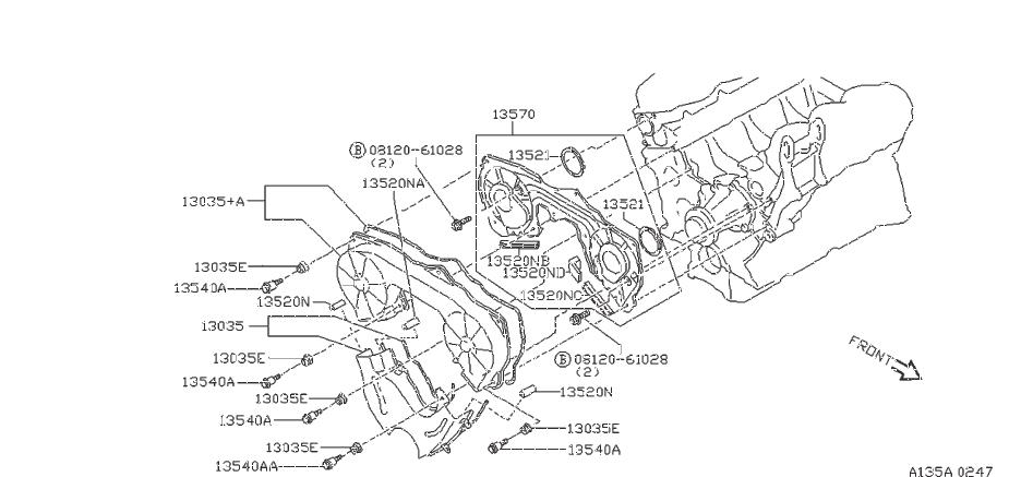 Nissan Maxima Engine Timing Cover Gasket (Left, Front