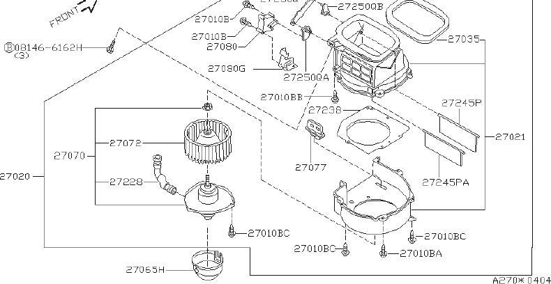Nissan Altima Hvac Heater Mode Door Lever. UNIT, BLOWER