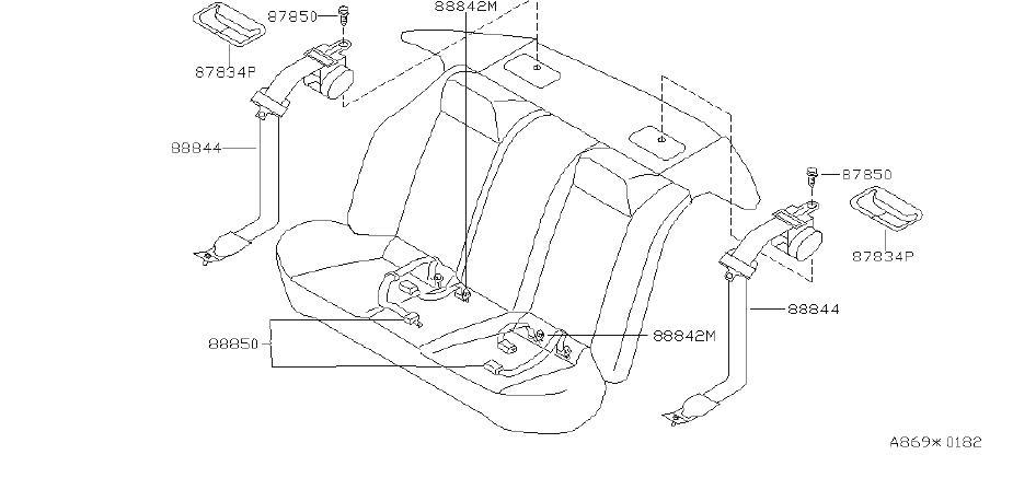Nissan Altima Seat Belt (Rear). Trim, Interior, Body