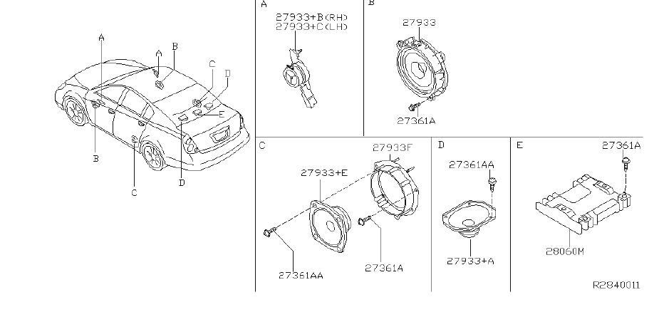 Nissan Altima Amplifier Speaker. AUDIO, BOSE, SYSTEM