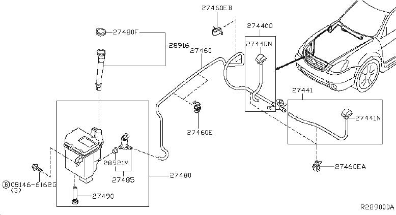 Nissan Altima Windshield Washer Nozzle (Right). System