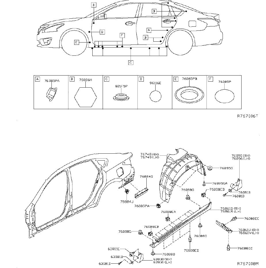 Nissan Altima Mudguard Center. (Right, Front). BODY, SIDE