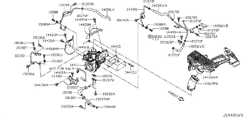 Nissan Altima Turbocharger Coolant Line. KIT, INTERCOOLER
