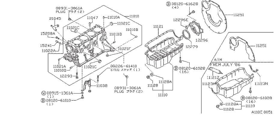 Nissan 240SX Engine Expansion Plug. BLOCK, CYLINDER, REAR