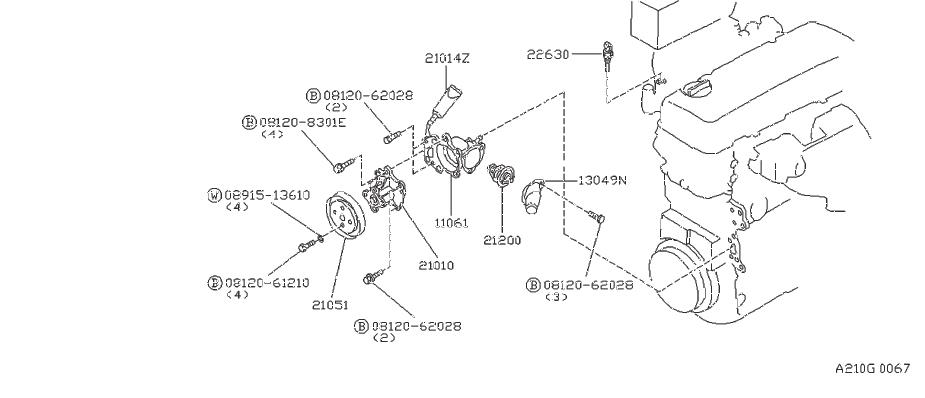 Nissan Axxess Engine Coolant Temperature Sensor. JECS