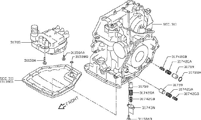 Nissan Versa Automatic Transmission Valve Body. Driveline