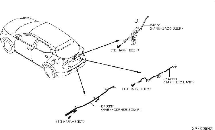 Nissan Versa Clip Wiring Harness. ENGINE, DOOR, BATTERY