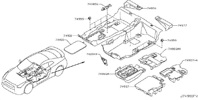 Nissan GT-R Spacer Floor Trim. (Front). TRIMMING, Interior