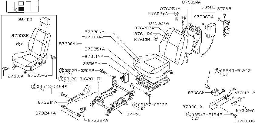Nissan Frontier Seat Frame (Front). SIDE, MODEL, BAG