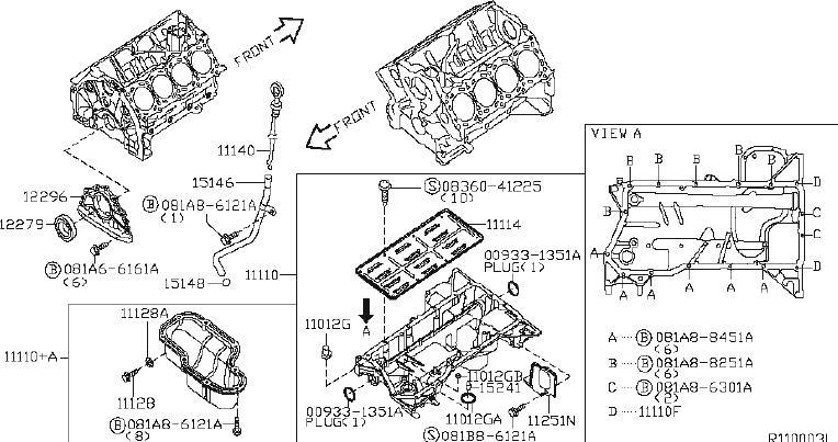 Nissan Pathfinder Engine Crankshaft Main Bearing Cap Bolt