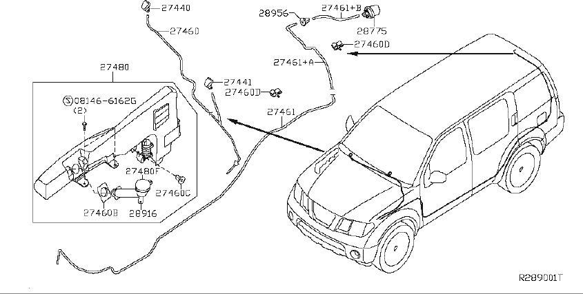 Nissan Pathfinder Washer Fluid Reservoir Filler Pipe Clip