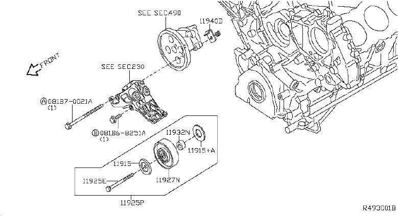 Nissan Pathfinder Pulley Idler. STEERING, BELT, POWER