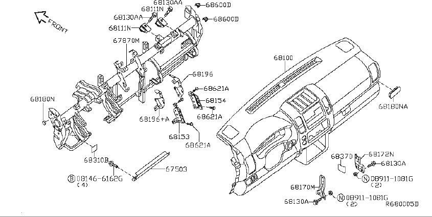 Nissan Pathfinder Srs product lid fuse block. Inst, pad