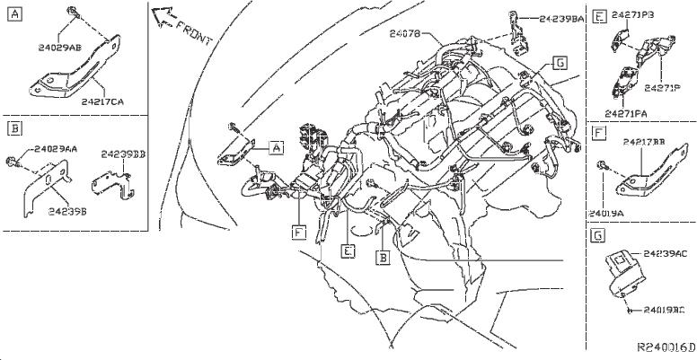 Nissan Pathfinder Bracket Engine Room Harness. Bracket
