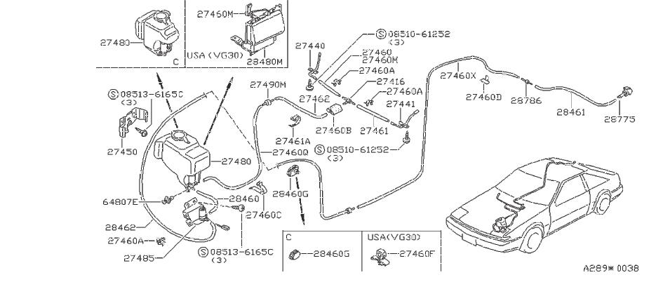 Nissan 200SX Clip Hose. Clip Wiring Harness. WIPER, BODY