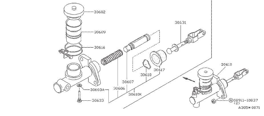Nissan Stanza Clutch Master Cylinder Repair Kit. NABCO