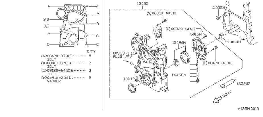Nissan 240SX Engine Crankshaft Seal (Front). NOK, SELECT