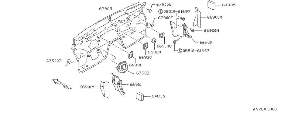Nissan 240SX Fender Insulator (Front). FITTING, PLUG, SIDE