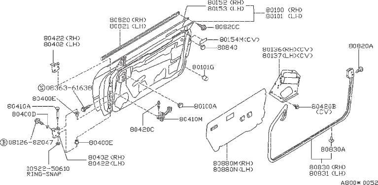 Nissan 240SX Clip Weatherstrip. DOOR, FITTING, PANEL