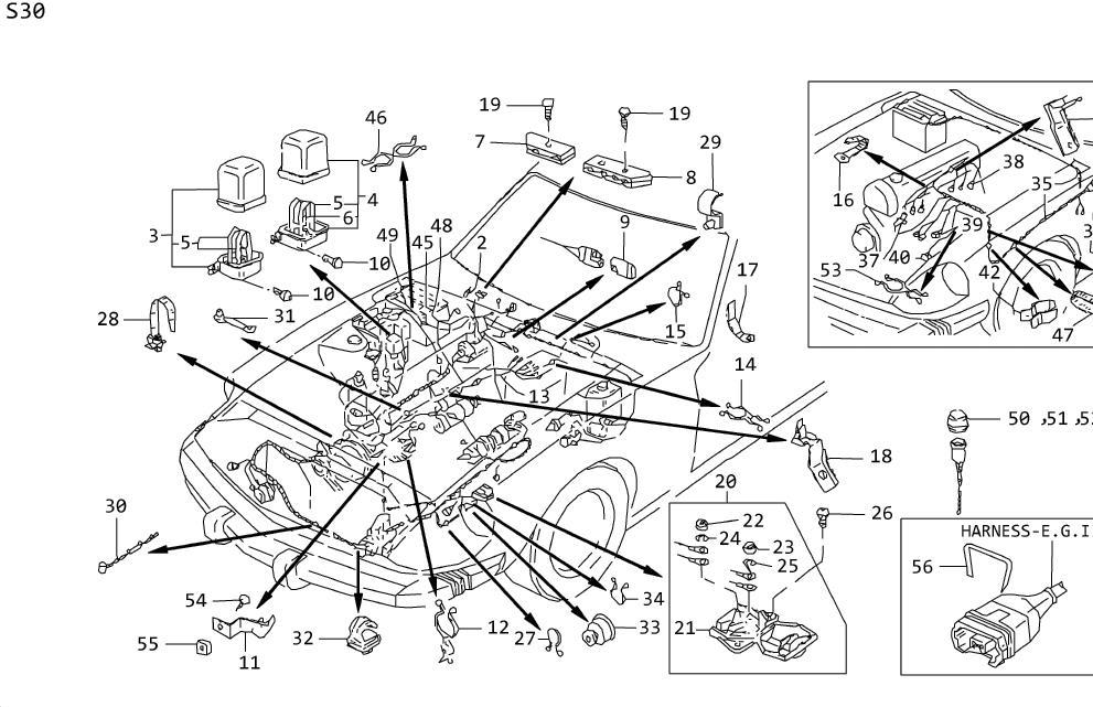 Datsun 280Z Clip 8X8. Clip Wiring Harness. Purse Lock