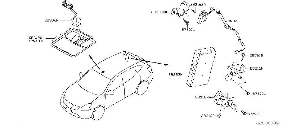 Nissan Rogue Bracket Relay. Bracket Telephone Unit. SED