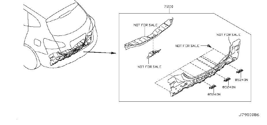 Nissan Rogue Rear Body Panel (Rear, Upper). Trim, Interior