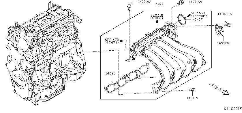 Nissan Versa Exhaust Manifold. INTAKE, ENGINE, COVER